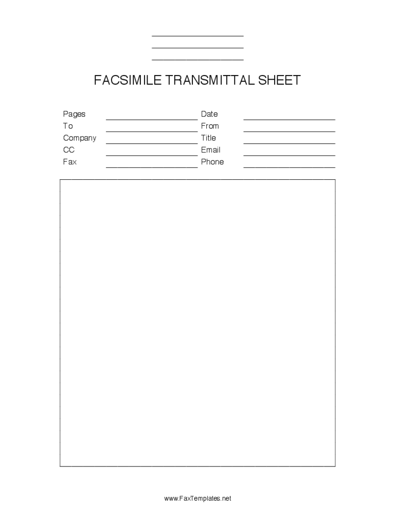 Blank Fax Cover Sheet Free Download