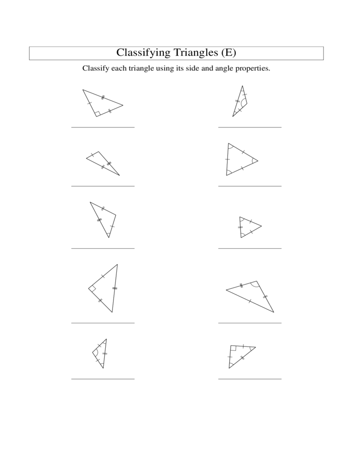Classifying Triangles By Angles And Sides Worksheet