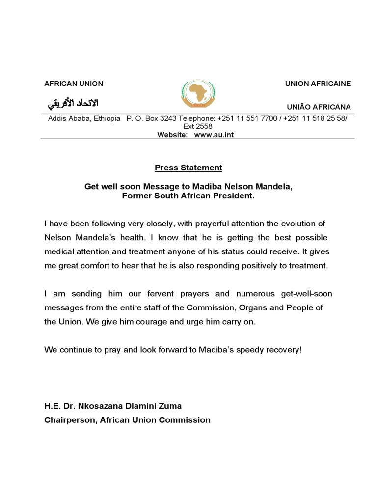 Press Statement Get Well Soon Message