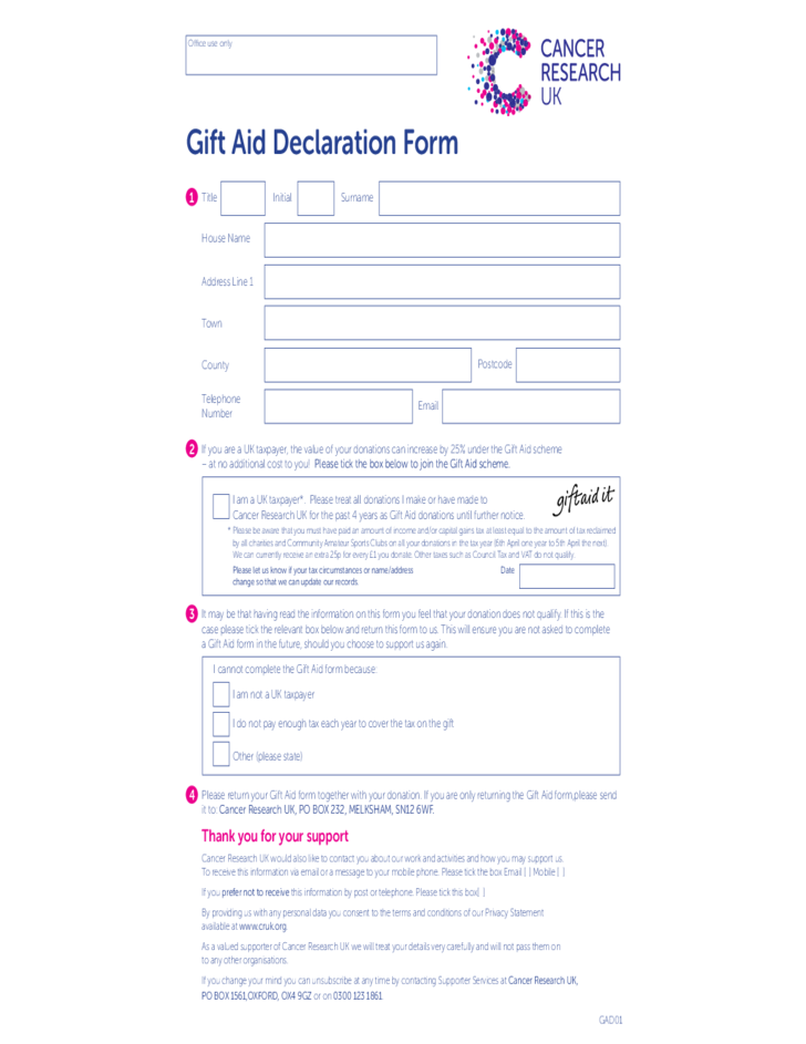 Gift Aid Declaration Form Uk Free Download