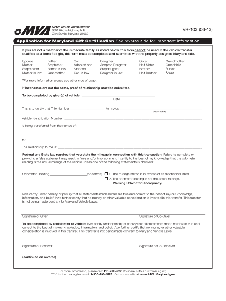 Application for Gift Certification - Maryland