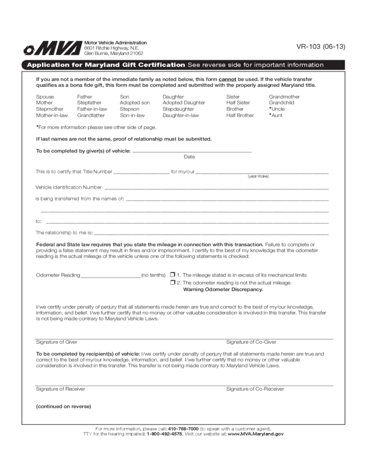 Application for Gift Certification - Maryland Free Download
