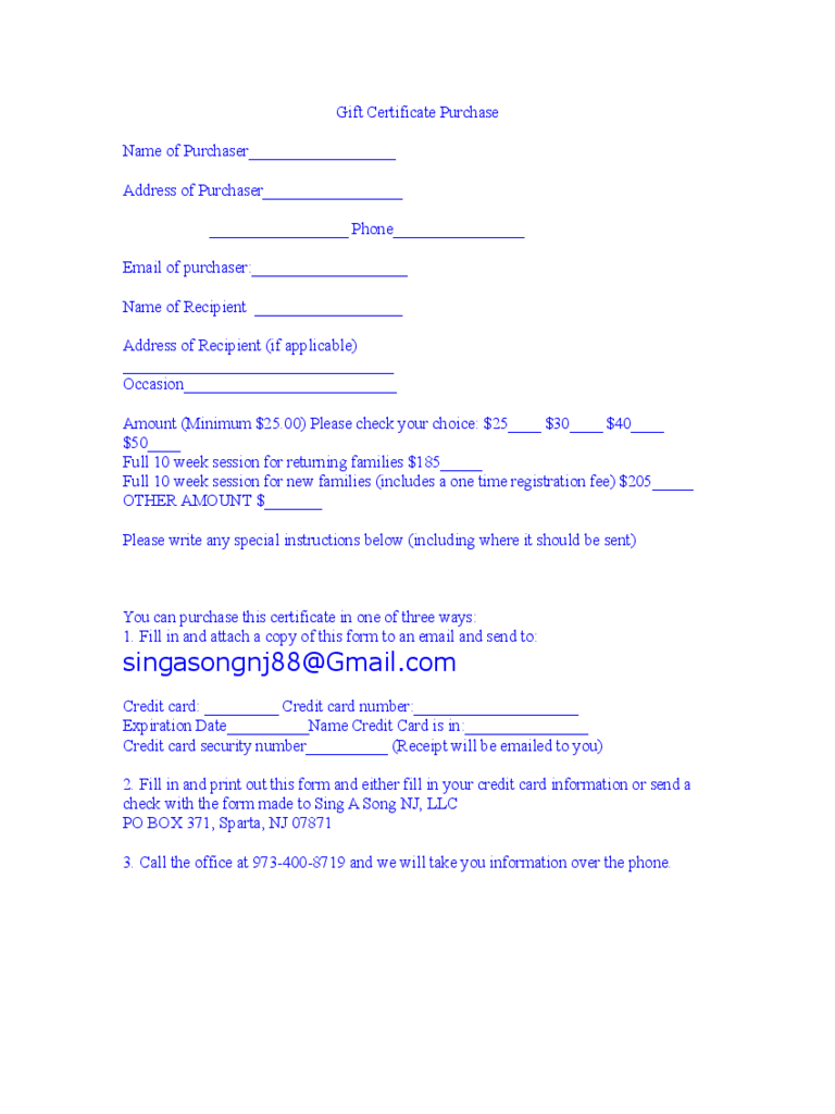 Gift Certificate Purchase Form