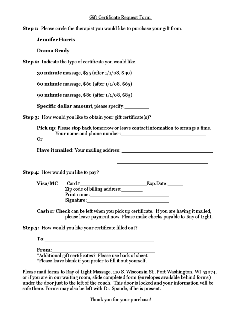 Gift Certificate Request Form