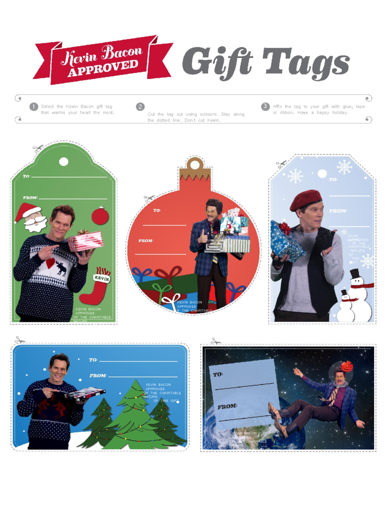 Kevin Bacon Gift Tag Templates