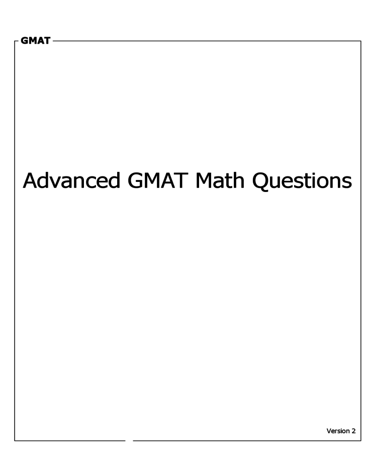 Advanced GMAT Math Questions