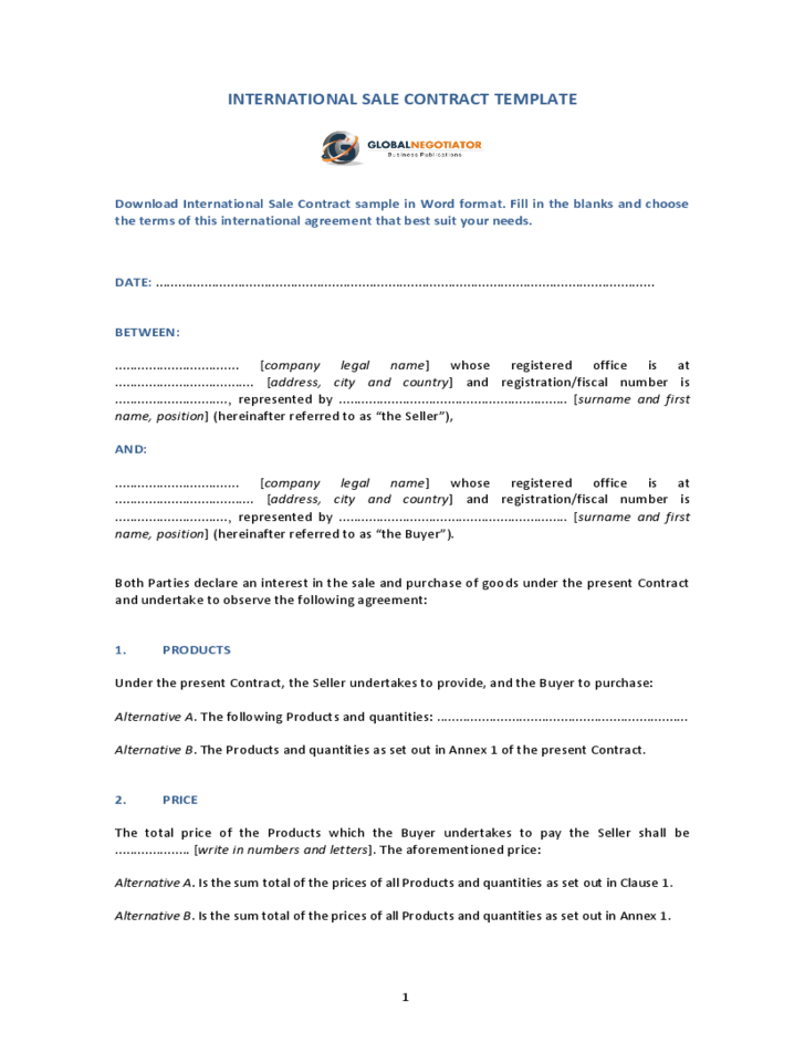 sale of goods agreement template - international sale contract template free download