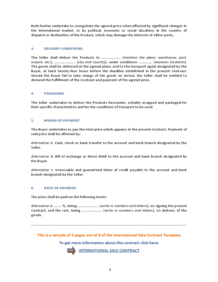 International Sale Contract Template Free Download
