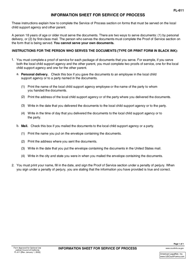 FL-611 Information Sheet for Service of Process