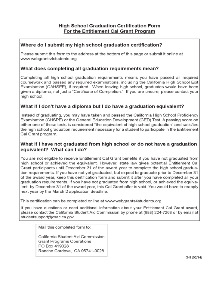 High School Graduation Certification Form California Free Download