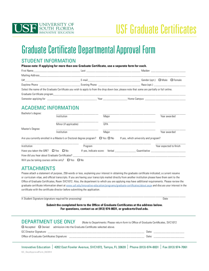 Graduate Certificate Departmental Approval Form Florida