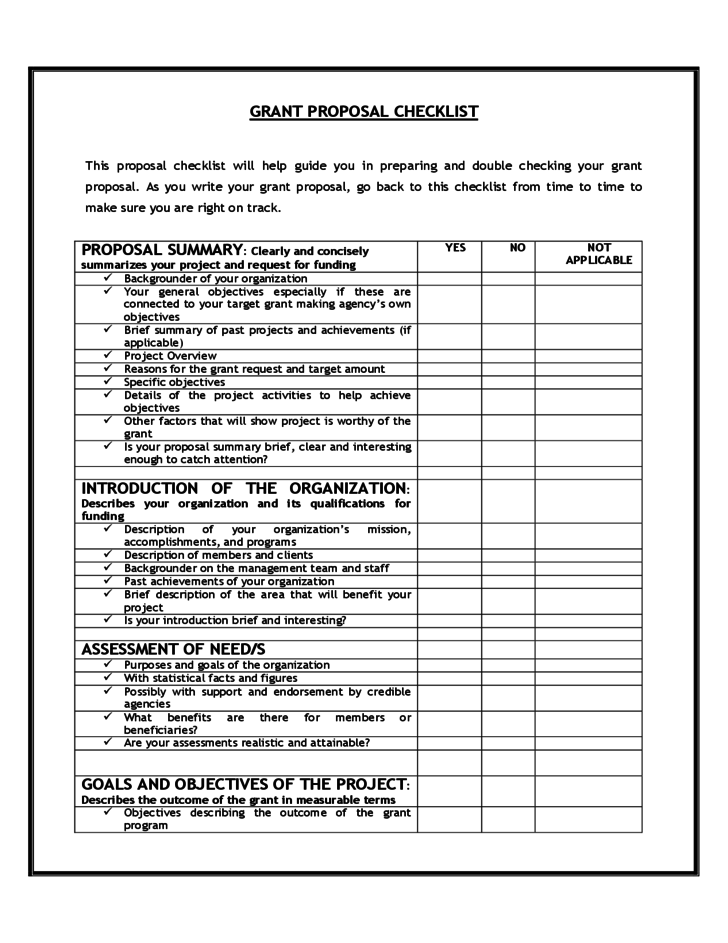 Grant Proposal Checklist Free Download