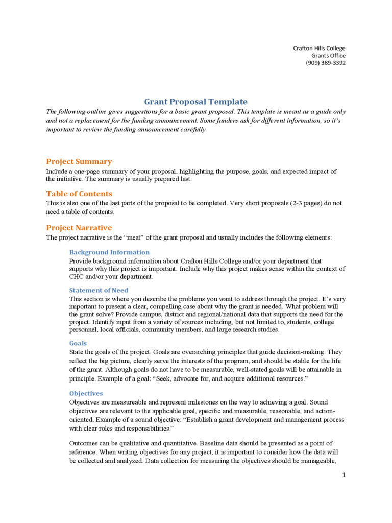 Example of Grant Proposal Template