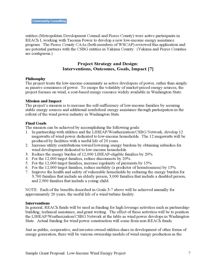 Sample Grant Proposal of Low-Income Wind Power Project
