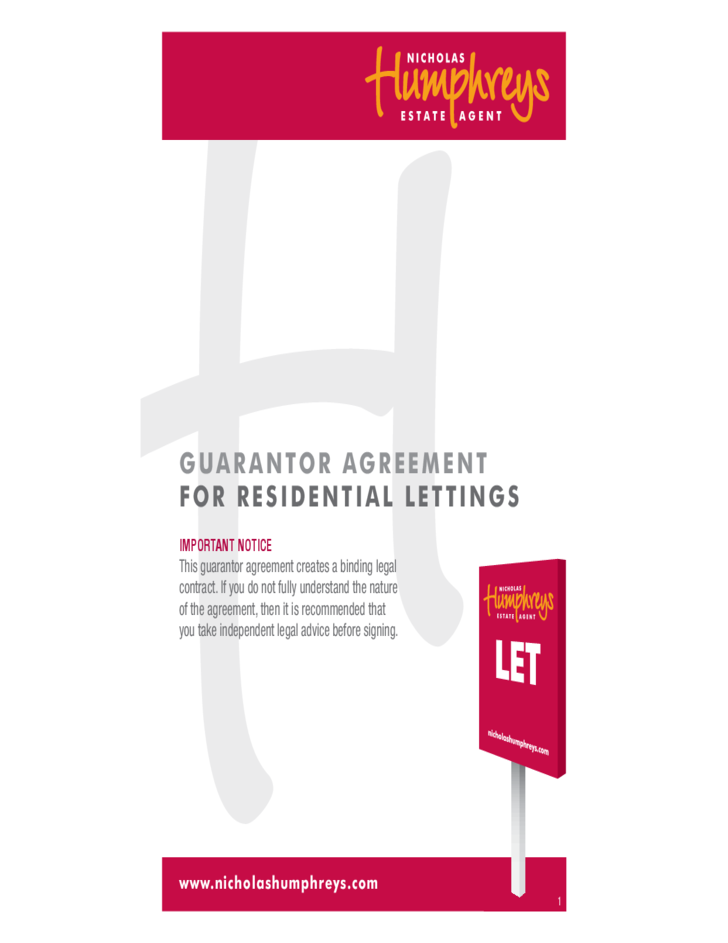 Guarantor Agreement For Residential Lettings Free Download