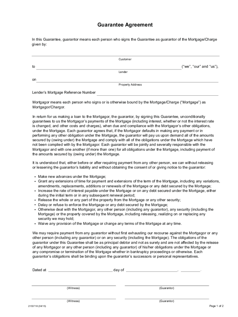 Guarantor agreement form 16 free templates in pdf word excel guarantee agreement scotiabank platinumwayz