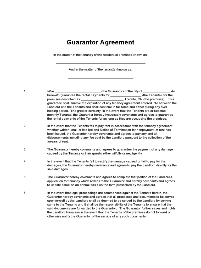 Guarantor Agreement Form 16 Free Templates in PDF Word Excel – Sample Tenancy Agreement