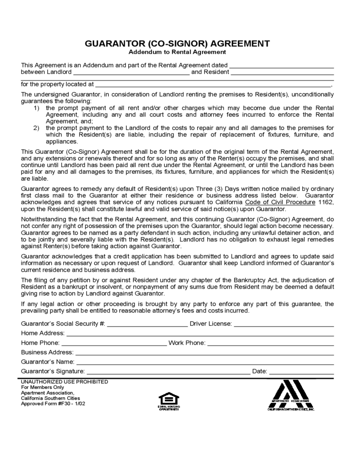 Sample Form For Guarantor Agreement Free Download