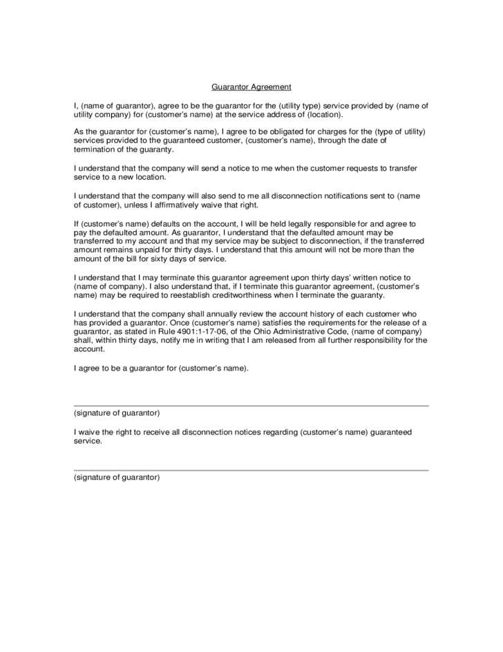 Guarantor Agreement Template Free Download