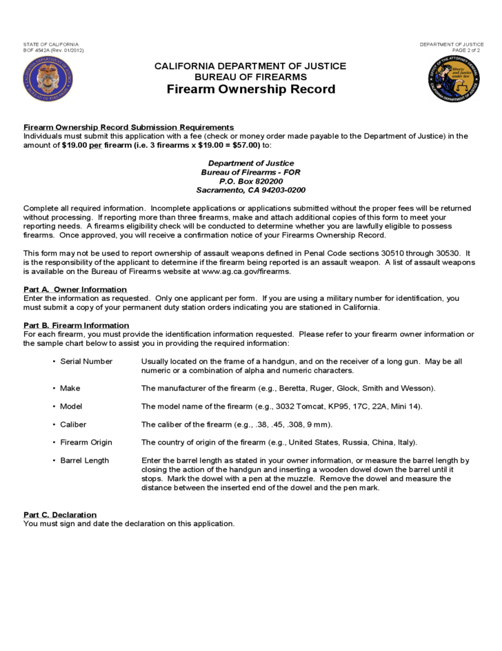 Firearm Ownership Record - California Free Download