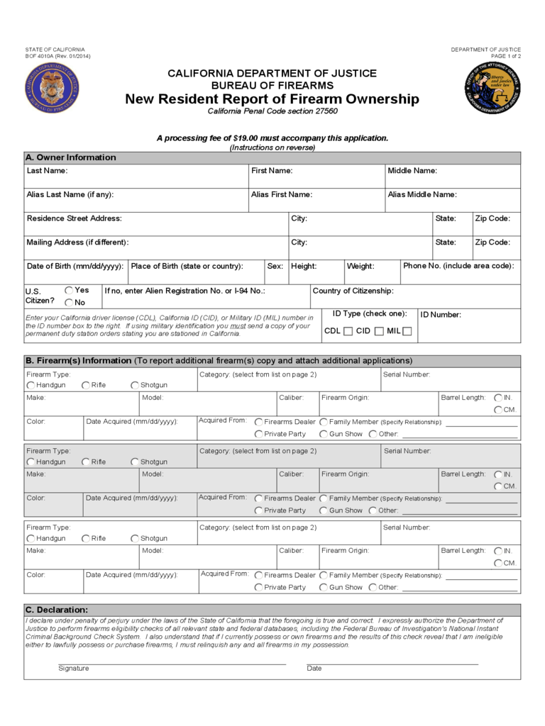 New Resident Report of Firearm Ownership - California