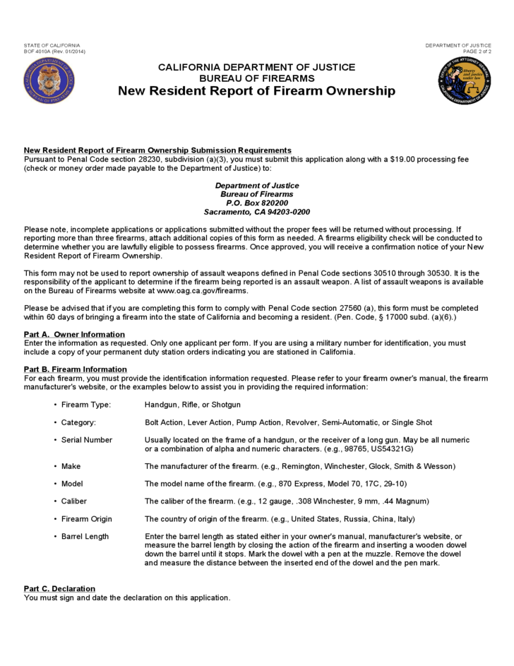 new resident report of firearm ownership
