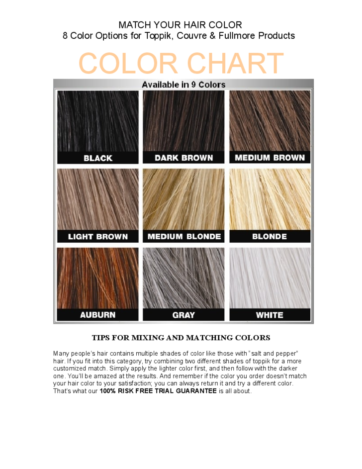 Hair Color Match Chart Free Download