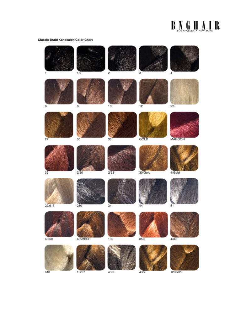Classic Braid Kanekalon Color Chart Free Download