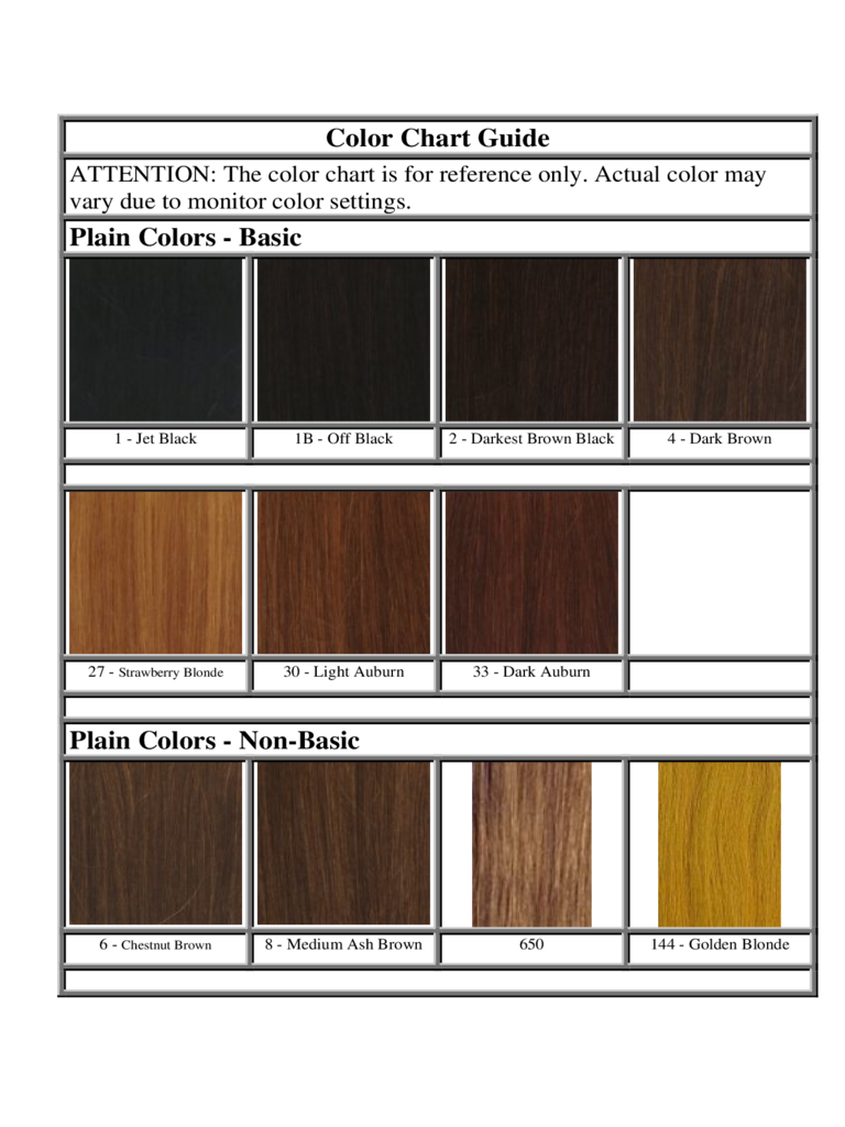 Hair Color Chart Guide