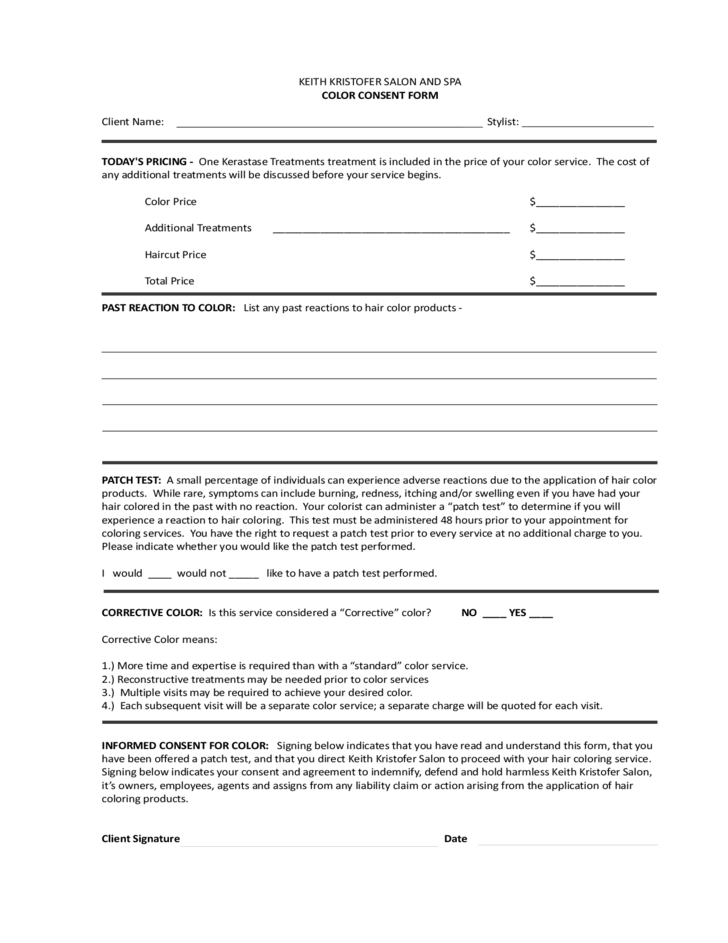 Hair Color Consent Form And Waiver For Professional Salons