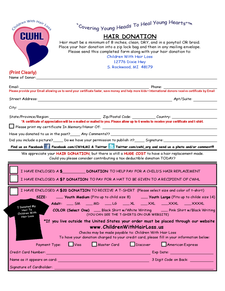 Hair Donation Form - Children with Hair Loss