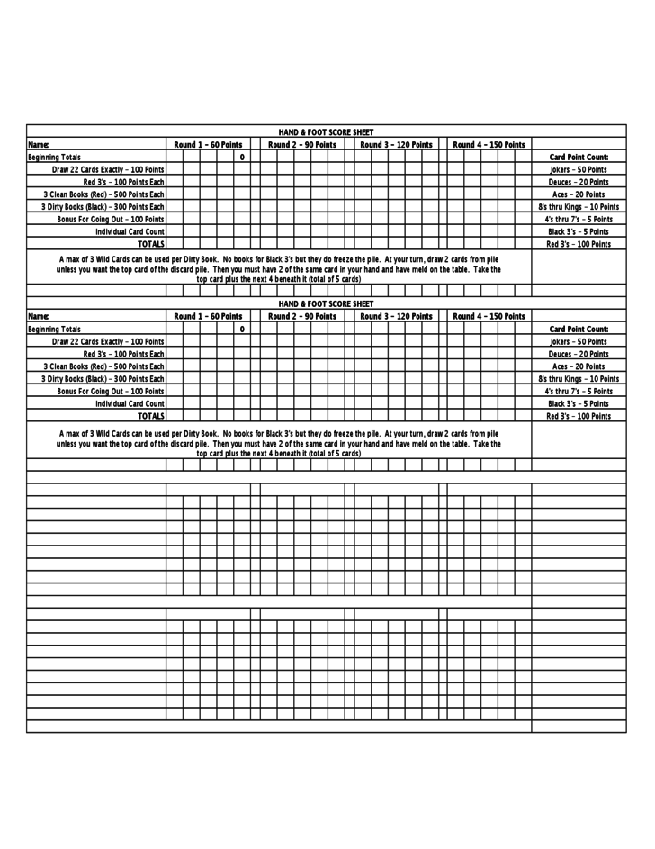 1 Sample Hand And Foot Score Sheet