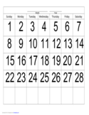 Handwriting Calendar - 28 Day - Sunday Free Download