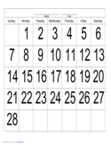 Handwriting Calendar - 28 Day - Monday Free Download