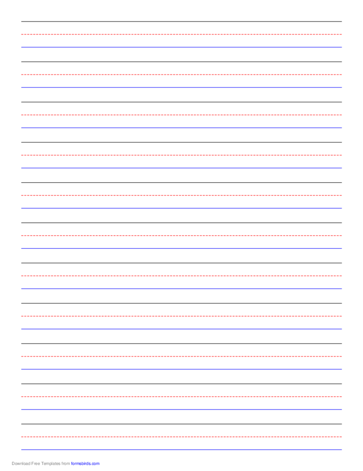 Penmanship Paper 11 Colored Lines Portrait Free Download