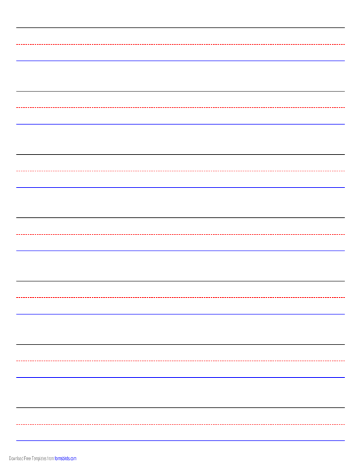 Penmanship Paper - 7 Colored Lines - Landscape Free Download