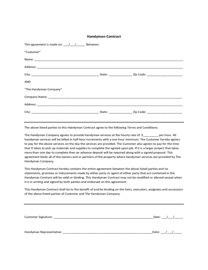 Handyman contract sample free download for How to build a contract