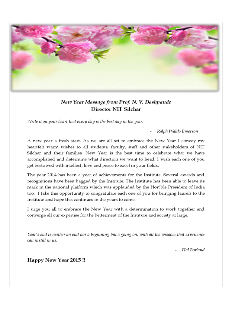 Director Happy New Year Message Template