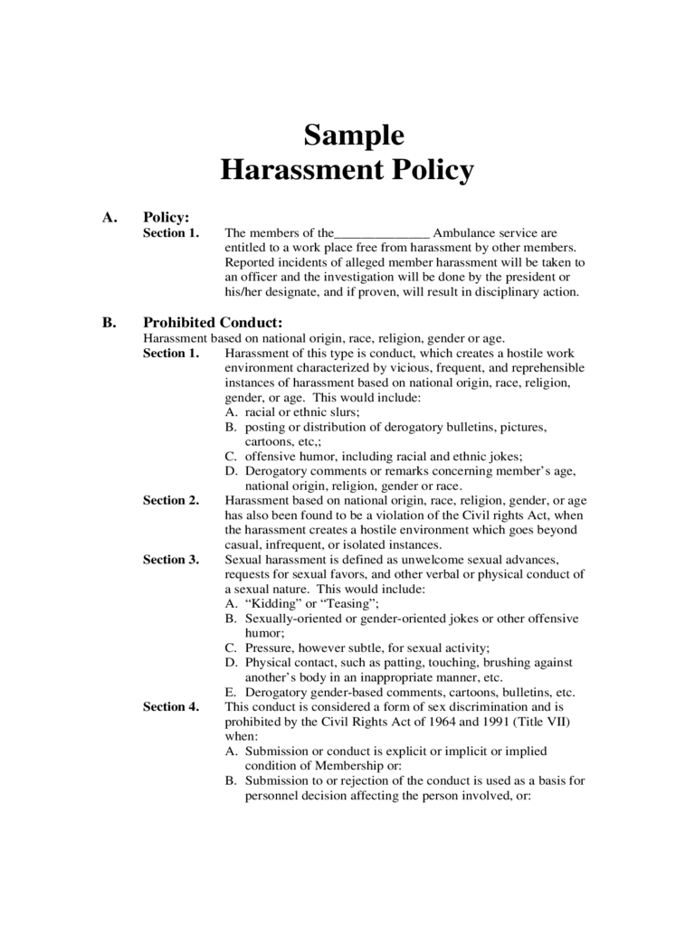 Harassment Policy Template - 2 Free Templates in PDF, Word, Excel ...
