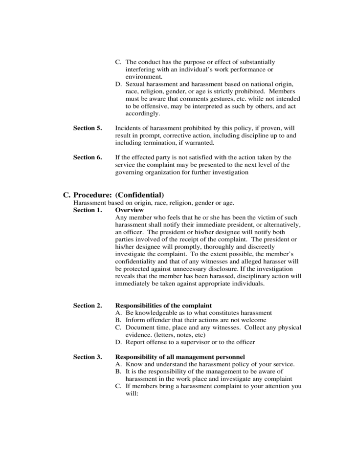 2 harassment policy sample