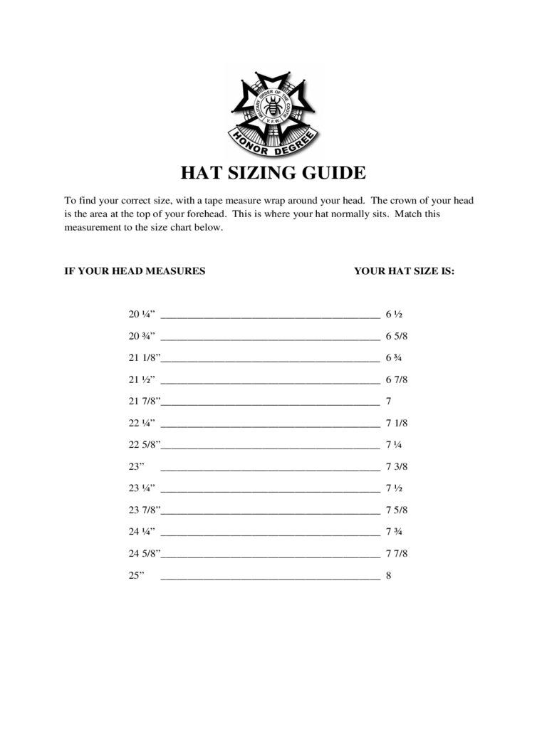 Hat Sizing Guide