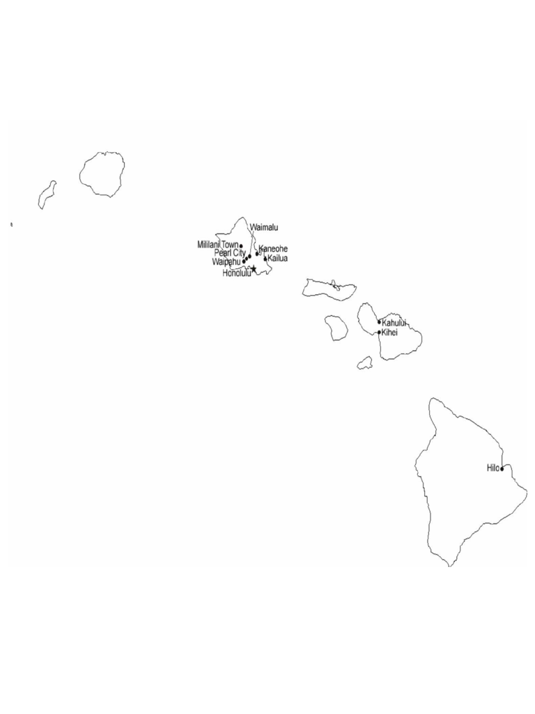 Map of Hawaii Cities with City Names