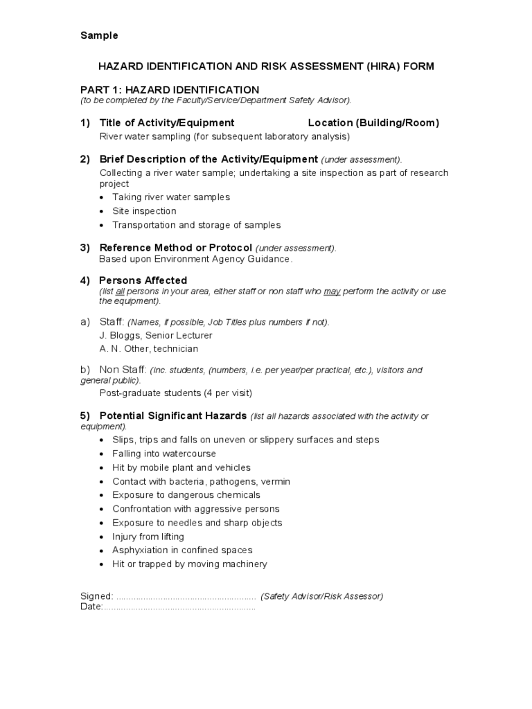 Hazard Identification and Risk Assessment Template