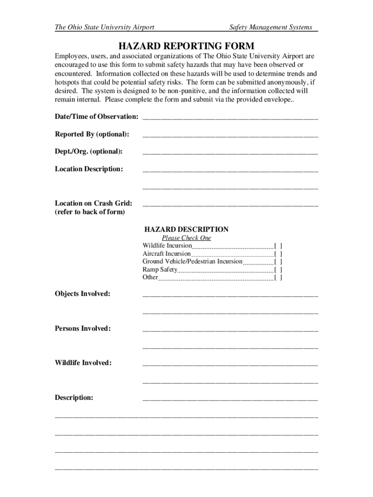 Hazard Report Form - 2 Free Templates in PDF, Word, Excel ...