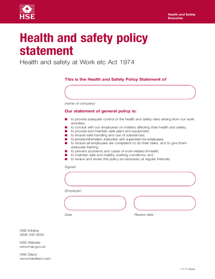 Health and safety policy statement template free download for Workplace safety program template