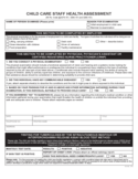 Child Care Staff Health Assessment - Pennsylvania Free Download