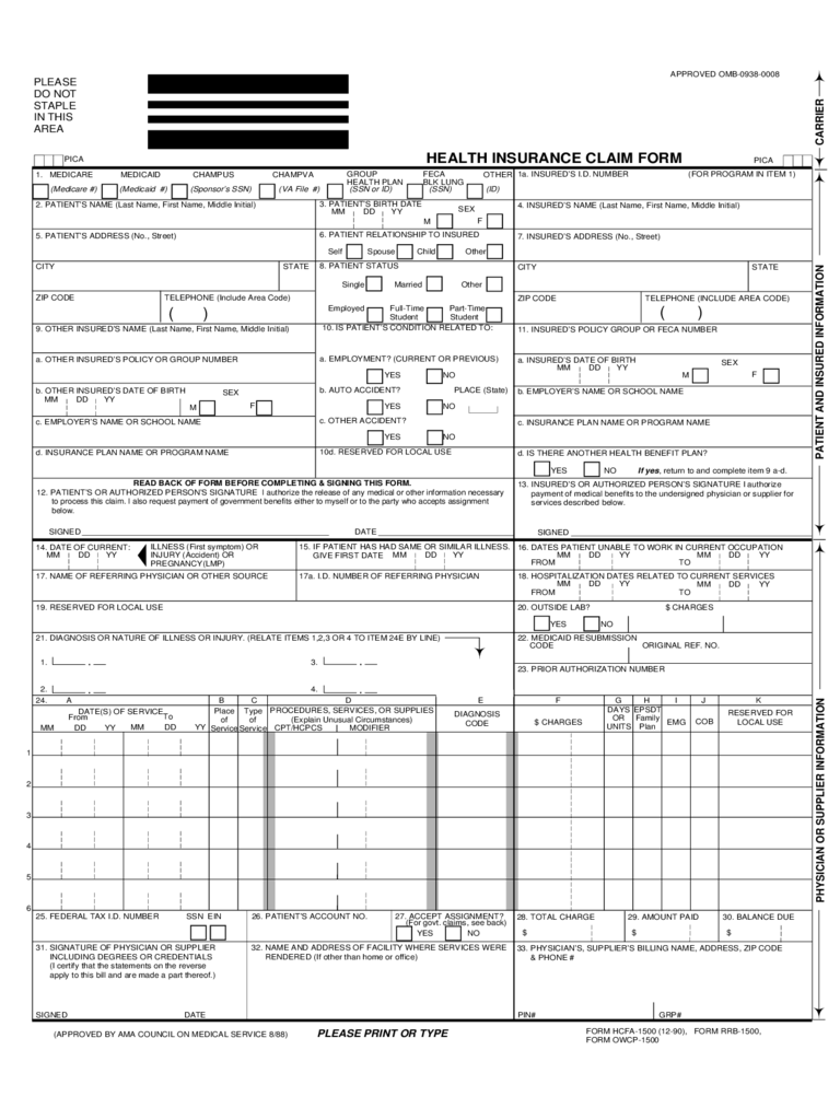 health care claim form 2 free templates in pdf word