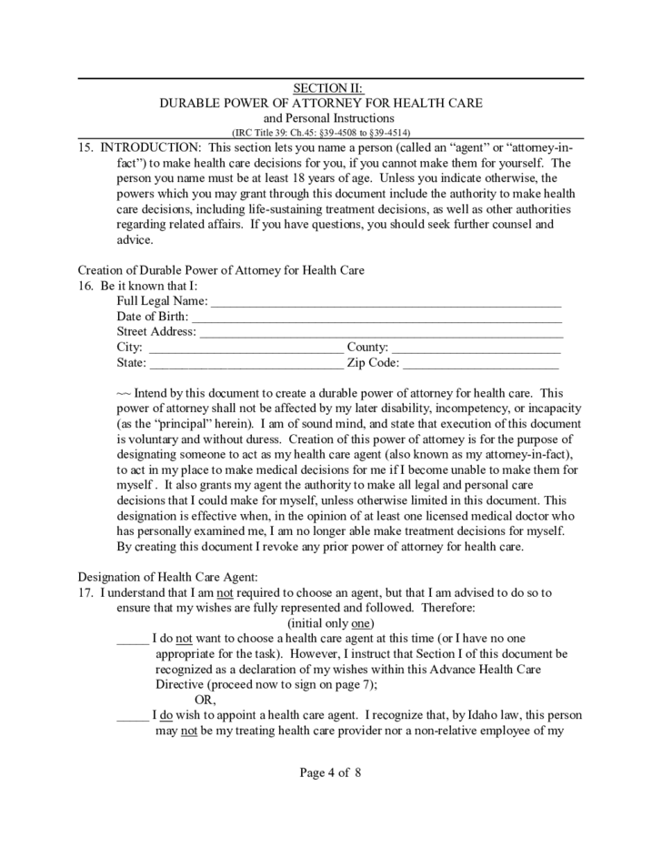 Durable Power of Attorney for Health Care Example - Idaho
