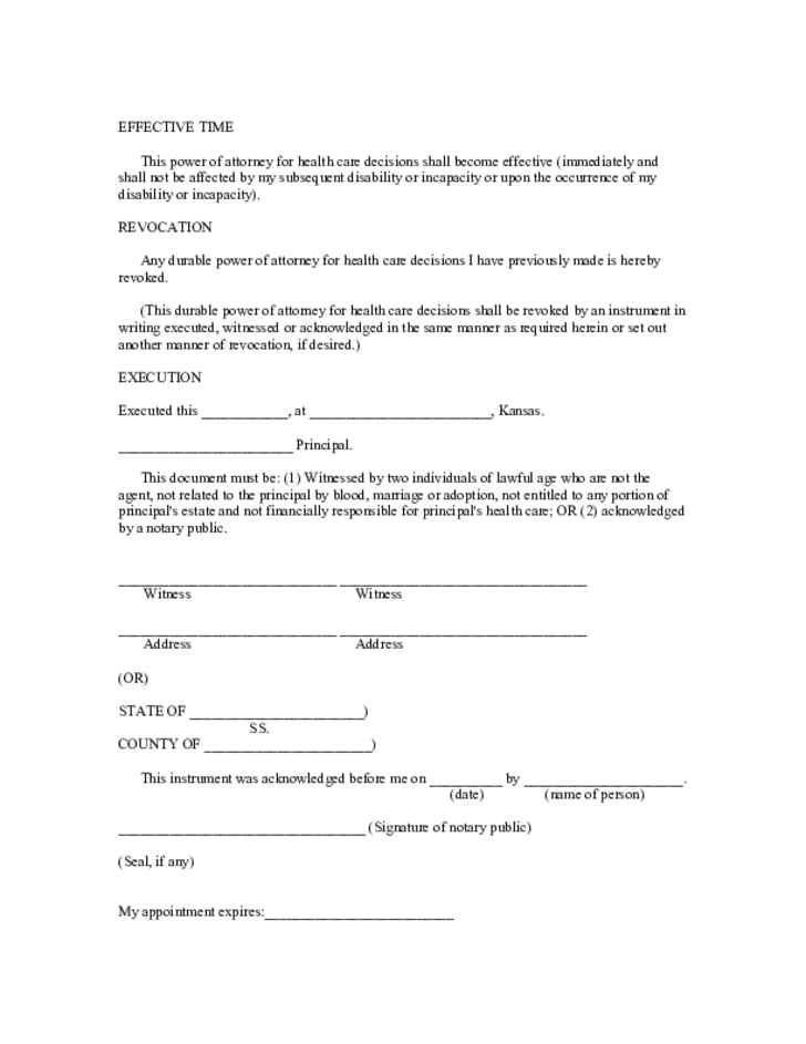 durable-power-of-attorney-for-health-care-kansas-l3 General Power Of Attorney Form Kansas on template for oho, north carolina,