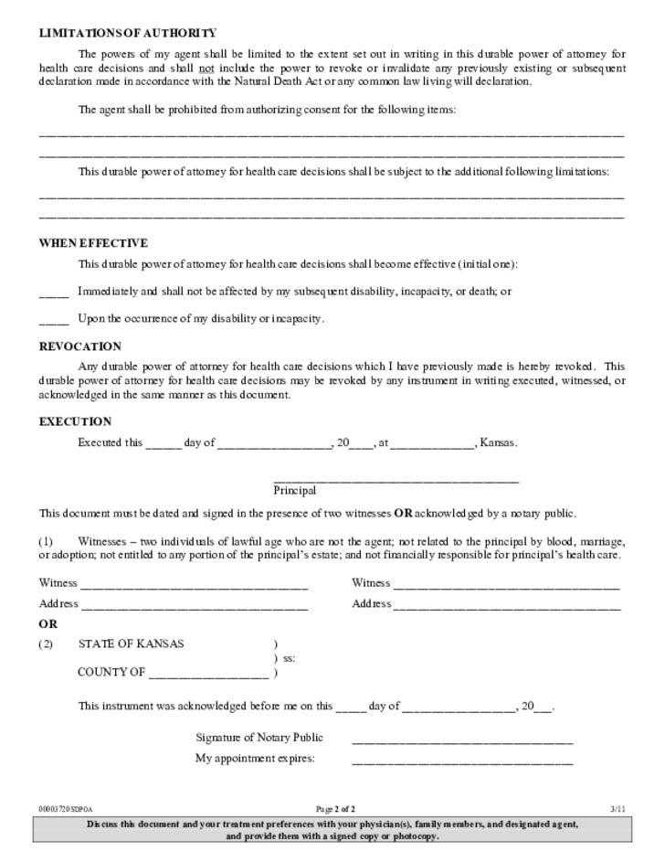 Durable power of attorney for health care decisions kansas free download for Kansas power of attorney forms